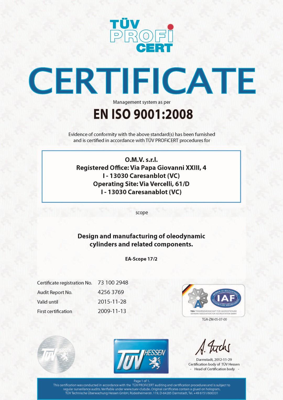 Certificazione ISO 9001 (Inglese)